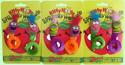 Kitty Hoots Springy Worms Catnip Toys